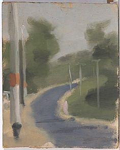Clarice BECKETT, not titled (road with telegraph poles) Australian Painting, Australian Artists, Contemporary Landscape, Urban Landscape, Sweetest Devotion, Landscape Paintings, Aussies, Cityscapes, Roads