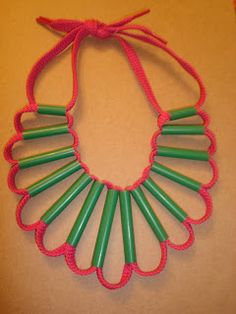 * Cute necklaces made with straws & shoelaces [faux Native American craft??]