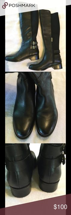 """Butter Soft Boots by Ivanka Trump. 7M. Black, butter soft faux leather front and foot, with the front slightly higher than the back. Back from top to ankle is a soft, stretchy neoprene. Inside zipper opens for ease of entry. These boots have a very slightly distressed appearance, and will add elegance to any outfit. Approx 17"""" tall and 6 1/2"""" at widest upper calf. Pristine condition, with the stickers still on the bottoms. True 7 M. Ivanka Trump Shoes Heeled Boots"""