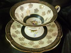 EB Foley Tea Cup and Saucer ~ Dramatic Cream, Black Bands & Wild Vintage Flowers