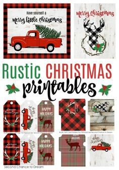Second Chance To Dream - Rustic Farmhouse Christmas Printables - Second Chance to Dream: FREE Rustic Christmas Printables - Christmas Tags Printable, Free Printable Gift Tags, Christmas Labels, Christmas Truck, Plaid Christmas, Christmas Holidays, Free Printables, Party Printables, Frugal Christmas