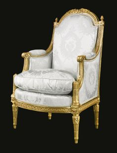 A Louis XVI carved giltwood bergère circa 1785, stamped Demay Jean-Baptiste Bernard Demay (1759-1848), made in 1784