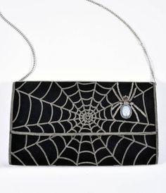 Black Suede & Silver Chain Spiderweb Envelope Clutch