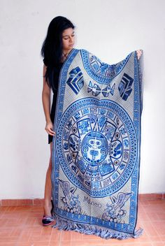Mexican Rebozo with Aztec Calendar Mexican Shawl by Mexicanera