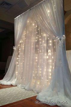 Beautiful Wedding Backdrop   String Lights   Organza Curtains   Indoor Wedding Inspiration   Romantic Wedding #WinterWeddings #RomanticWeddings