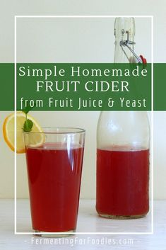 It's easy to make homemade hard cider. All you need is a packet of champagne yeast and a bottle of juice. Perfect for the holidays, make a hard cranberry cocktail or pomegranate cider. Homemade Wine Recipes, Homemade Cider, Homemade Alcohol, Fruit Drinks, Fruit Juice, Beverages, Champagne Yeast, Cider Making, Juice Diet