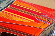 Lowrider, Car Painting, Painting Frames, Kustom, Car Paint Jobs, Painted Trunk, Door Molding, Cadillac Fleetwood, Paint Stripes
