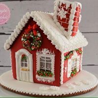 Red gingerbread house with white roof Gingerbread House Designs, Gingerbread House Parties, Gingerbread Village, Christmas Gingerbread House, Christmas Sweets, Christmas Goodies, Christmas Baking, Gingerbread Cookies, Christmas Time