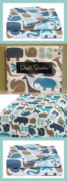 Quilts 66730: Dwell Studios Gio Aqua 4 Pc Full Sheet Set Elephants Swans Bunnies Giraffes New! -> BUY IT NOW ONLY: $59.99 on eBay!