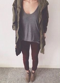 Oxblood, grey, and army green. MY COLORS OMG -E
