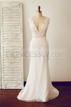 Sexy Fitted Deep V Neck Sheer Illusion Back Lace Wedding Dress