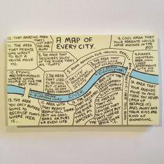 A Map of Every City als je in het vervolg een stedentripje doet hoef je ongeacht welke stad alleen deze kaart van Chaz Hutton mee te nemen. Meer memo-grafieken van zijn hand zijn op zijn instagram te vinden.