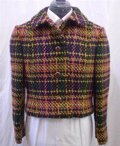 Vtg 60s Crop Blazer Jacket Woven Plaid Dolly Collar Green Orange Yellow S to M