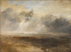 joseph mallord william turner -- breakers on a flat beach -- -- oil on canvas -- tate britain Joseph Mallord William Turner, Watercolor Landscape Paintings, Abstract Landscape, Rembrandt, Art Romantique, Turner Watercolors, Turner Painting, Tate Gallery, Artist Gallery