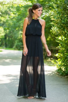 Part Of The Glam Maxi Dress, Black #maxi #sheer #neckline