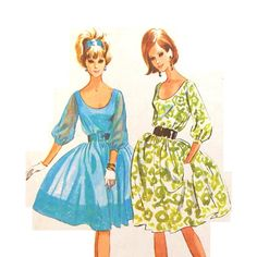1960s Party Dress Pattern Size 14 Bust 34 by RebeccasVintageSalon, $18.00