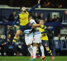 The French midfielder at full stretch in mid air during the Premier League clash on Wednes...