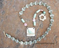 Necklace with micro macrame by Knot Just Macrame with Blu Mudd ceramic components.