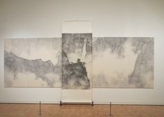 """Dragons Amidst Mountain Ridge"" by Li Huayi. Ink on paper. A set of six panels overlaid with a hanging scroll. Moholy Nagy, Abstract Geometric Art, Marcel Duchamp, Mary Cassatt, Edgar Degas, Wassily Kandinsky, Glyphs, Art Museum, Overlays"
