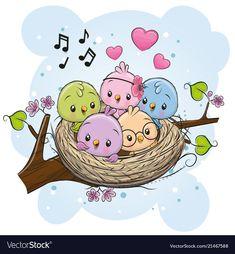 Cartoon Birds in a nest on a branch. Cute Cartoon Birds in a nest on a branch royalty free illustration Cartoon Cartoon, Cartoon Birds, Bird Drawings, Cartoon Drawings, Easy Drawings, Watercolor Card, Branch Vector, Bird Illustration, Cute Birds