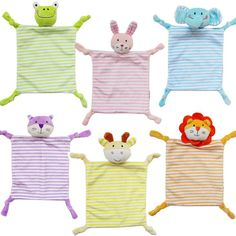 Soft Animal Appease Towel Toys with rattle