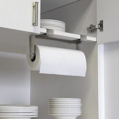 This kitchen roll holder is a great alternative to traditional upright styles and is particularly useful when there's limited worktop space. Find more storage ideas at housebeautiful.co.uk