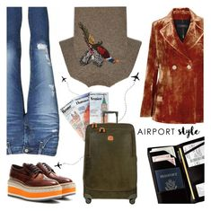 """""""Wanderlust Wonderful: Airport Style"""" by the-geek-goddess ❤ liked on Polyvore featuring Royce Leather, AG Adriano Goldschmied, E L L E R Y, Mulberry, Prada, Bric's and airportstyle"""