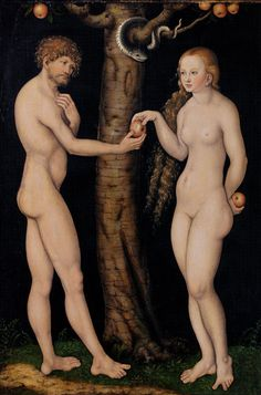 Eve Offering The Apple to Adam In The Garden of Eden Painting ~ The Elder Lucas Cranach [1526]