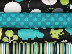 Zoology in Lagoon Fabric Bundle, Michael Miller Fabrics, Full Yard Set, 4 Yards Total. $32.00, via Etsy.