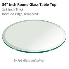Glass Table Top 34 Inch Round 12 Inch Thick Beveled Edge Tempered    For  More