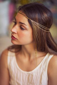 Bohemian gipsy greek gold plated hair jewelry - multi strand of gold plated stainless steel chains headpiece - festival style hair chain Festival Style, Armband Tutorial, Bridal Hair Chain, Chain Headpiece, Headpiece Jewelry, Jewellery, Hair Up Or Down, Hair Chains, Dress Wedding