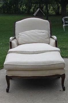 "French Bergere chair with ottoman ""before"""