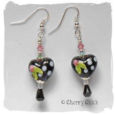 Heart lampwork beaded earrings $23