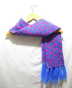 Pink Turquoise Blue Multi Crochet Scarf by BenitaMarie on Etsy