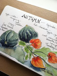 Tisha Sheldon's watercolor sketchbook ... // lovely... idea starter for accordian book - water color adds to India ink...