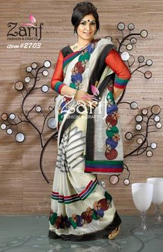 Make heads turn with this off white saree that is further glamorized with exclusive Jamdani sharee design with gorgeous cutwork with embroidery design featuring sequences . Kushi lais used to make it more beautiful. Mosline blouse comes with saree.