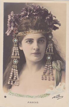 """Beautiful Edwardian Actress """"Pascal"""" with Awesome Headpiece French Postcard 