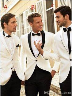 2017 Latest Coat Pant Designs White Wedding Suits Men Prom Suit Tuxedo Slim Fit 2 Piece Custom Groomsman Blazer Terno Masculino #menweddingsuits