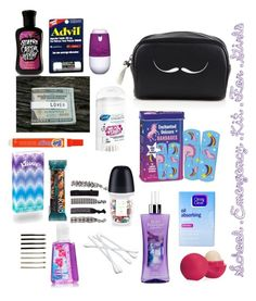 """""""School Emergency Kit For Girls"""" by nancydnanda ❤ liked on Polyvore featuring beauty, Eos, Saks Fifth Avenue, France Luxe, BP. and Clean & Clear"""