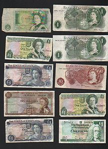 10 Old British Bank Notes Including Scotland England And Jersey Lot 4 Http