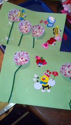 Bees and flowers  Could also have children add yellow thumb prints and teacher turn into bee when dry.