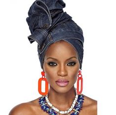 Headwrap in a reclaimed material. Denim is sturdy enough to act as a gele.