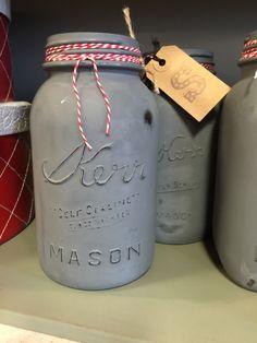 Grey Mason Jar with Red Twine, Distressed Mason Jar, Decorative Mason Jar, Weddings, Baby shower, Valentines, Christmas by LoveSarabella on Etsy https://www.etsy.com/listing/265039557/grey-mason-jar-with-red-twine-distressed