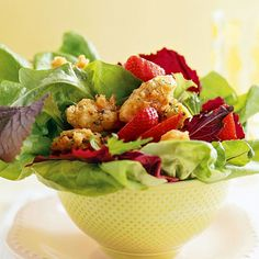 Everyone loves fried chicken, and we've captured its lighter side by pairing it with strawberries and basil in our scrumptious Southern salad. Balsamic vinegar and lemon add just the right tang to make this salad a new favorite./