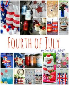Four of July mason jars - Red White Blue Mason Jars - Patriotic Mason Jar Craft Ideas