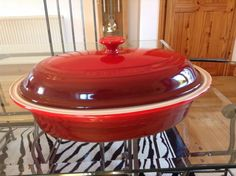 Stunning Large Le Creuset Stoneware Covered Oval Casserole, Cherry Red, New