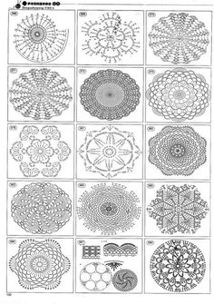 Crochet motifs or doilies/ coasters Mandala Au Crochet, Crochet Motif Patterns, Crochet Symbols, Crochet Diagram, Crochet Chart, Thread Crochet, Crochet Designs, Crochet Doilies, Crochet Flowers