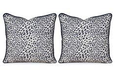 Miles Talbott Collection | S/2 Leopard Path 20x20 Pillows, Navy | $780.00 retail