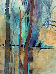 """Contemporary Landscape, Trees, """"Something in the Woods"""" by Carol Nelson Fine Art Abstract City, Abstract Landscape Painting, Landscape Paintings, Abstract Paintings, Oil Paintings, Indian Paintings, Landscape Art, Abstract Trees, Original Paintings"""