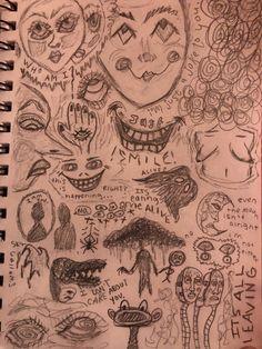 Arte Grunge, Grunge Art, Art Drawings Sketches Simple, Cool Drawings, Art Journal Inspiration, Art Inspo, Arte Punk, Psychedelic Drawings, Trash Art